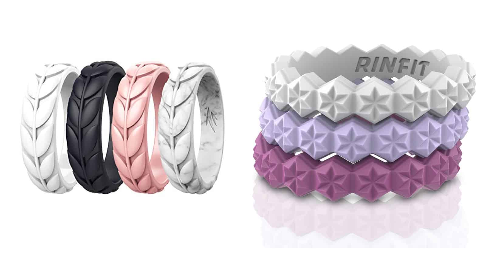 8 Rings // 4 Rings 2mm Thick Thin Silicone Wedding Rings 2.5mm Wide ThunderFit Womens Triangle Diamond Stackable Rings
