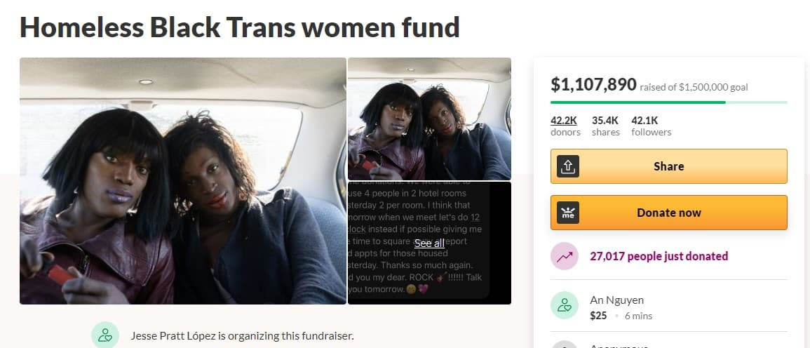 A Homeless Black Trans Women Fund has raised over $1.1 million across 40,000 donations, thanks in part to celebrities like Myyki Blanco. Read on to learn more.
