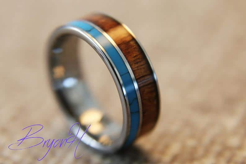 Inlay Wood Tungsten Carbide ring