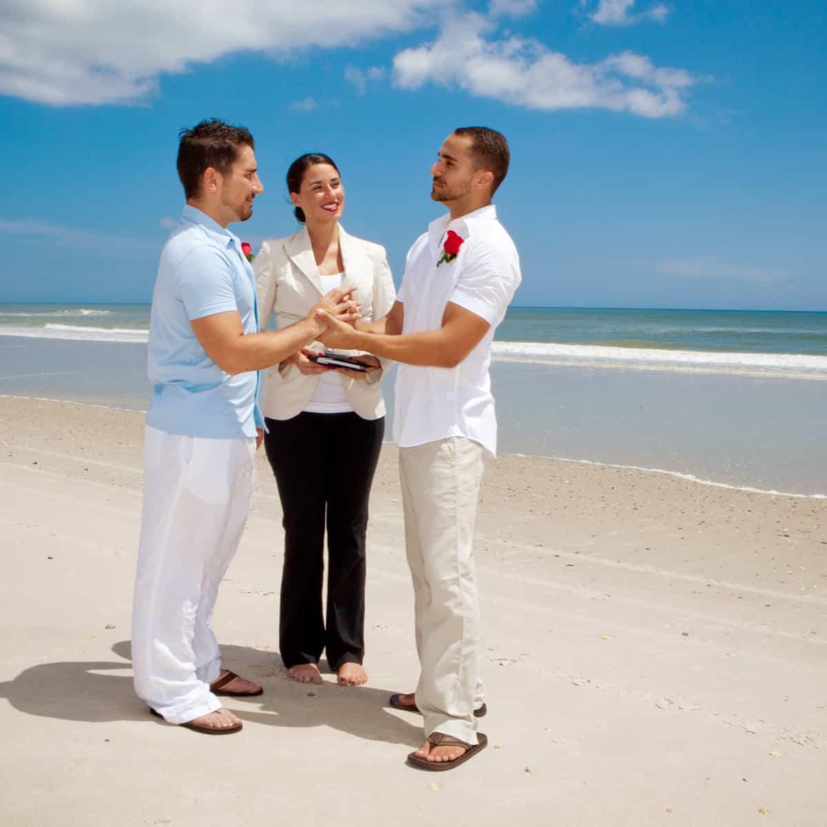 Gay wedding on the beach