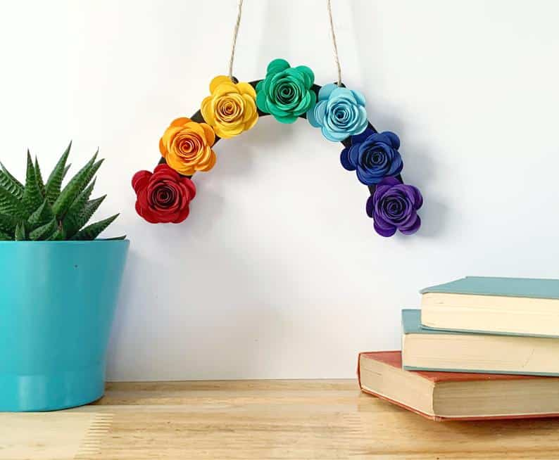 A rainbow wall hanging