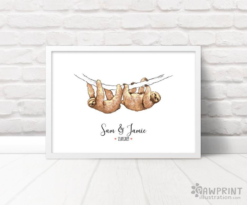 cute poster showing two sloths, customizable first anniversary gifts for gay couples