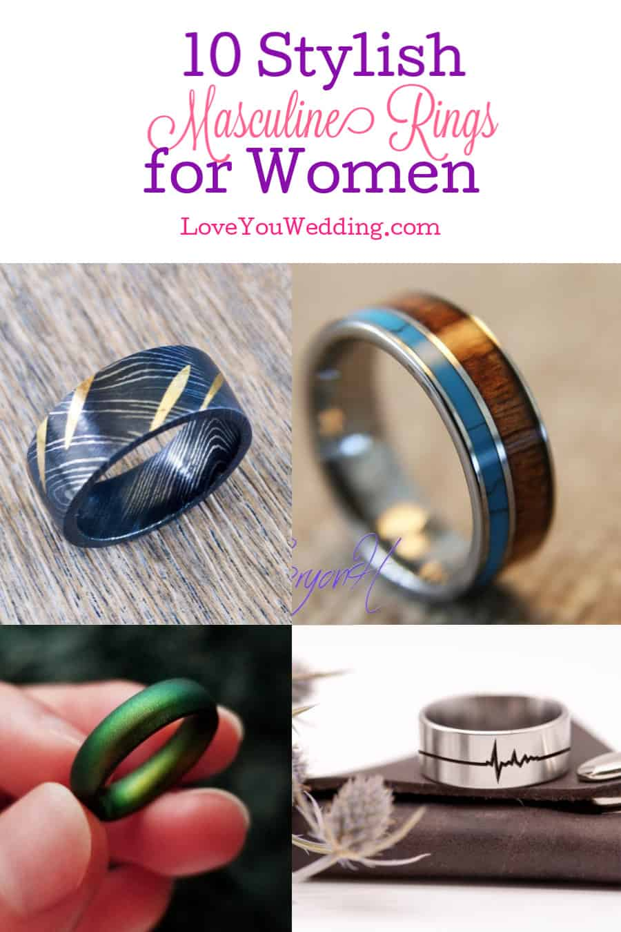Looking for masculine rings for women that are stylish and unique? Check out these 10 beautiful options for engagements, weddings and more!