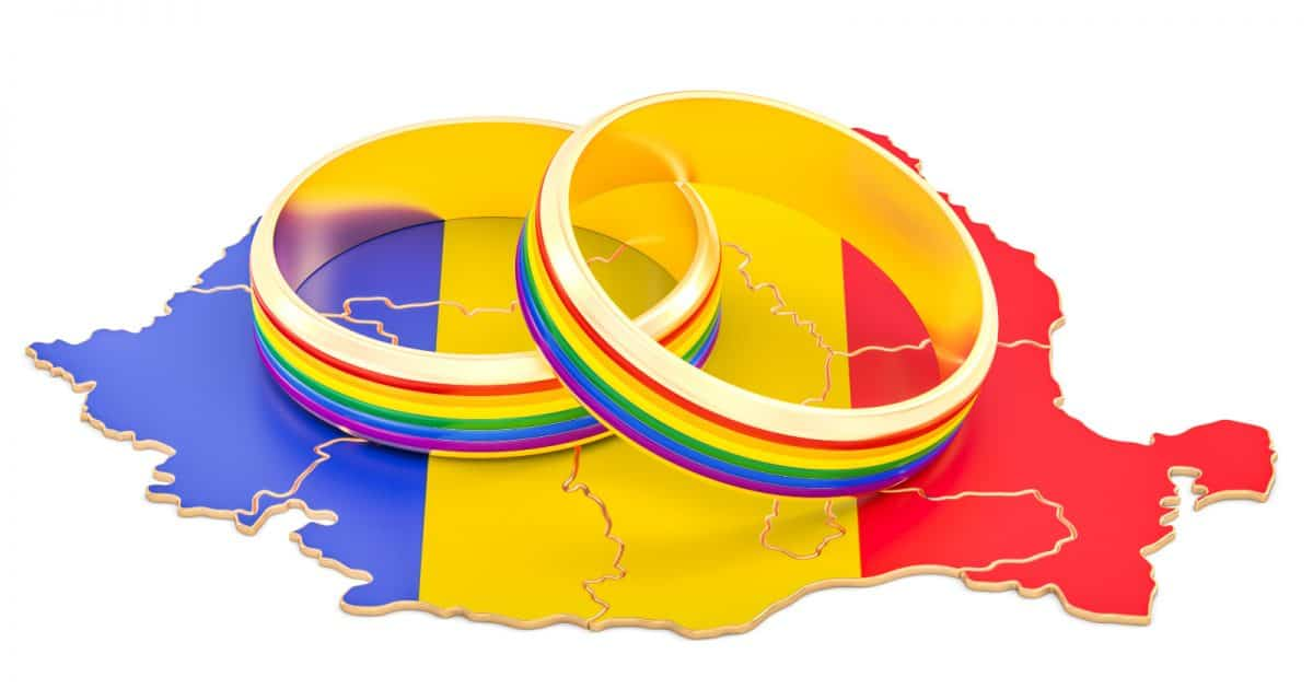 Romanian map with LGBT rainbow rings