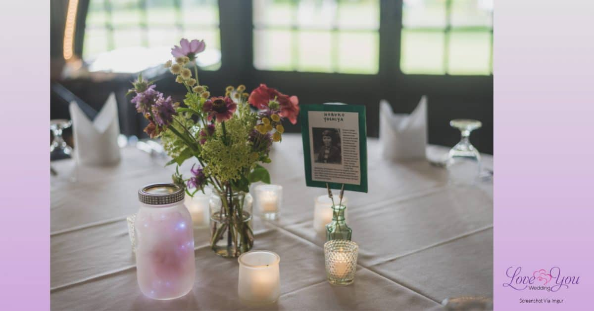 Photo of tasteful lesbian wedding table settings made by the brides