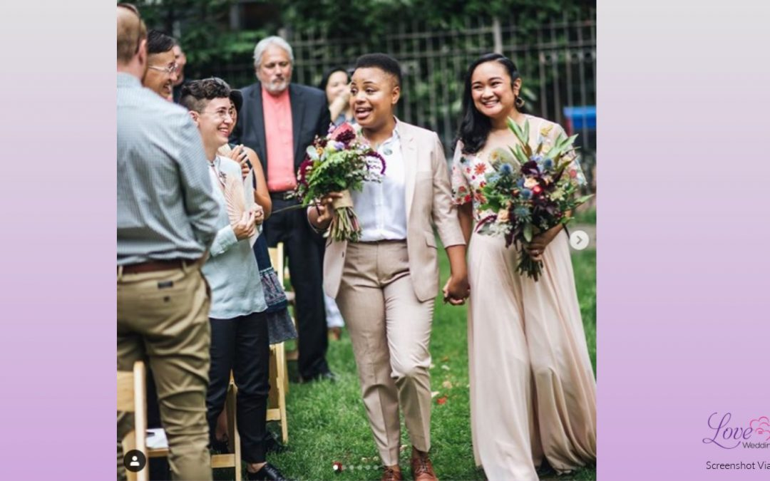 Two Brides Hosted a Stunning Lesbian Wedding Garden Party That's Got Us Swooning