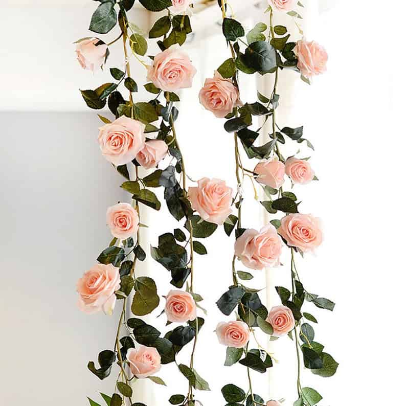 wedding arch garland with roses