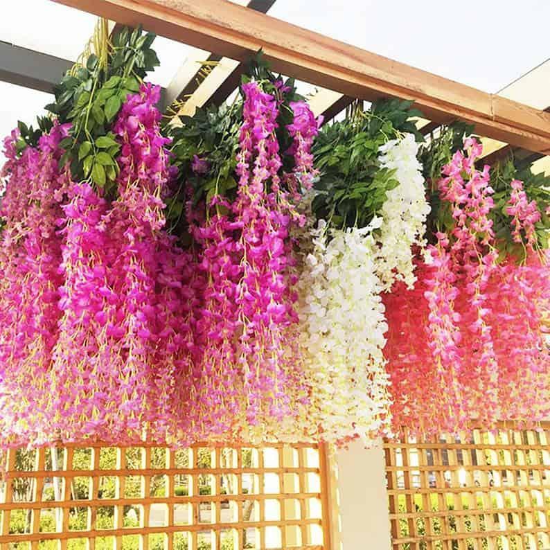 12PCS Wisteria Artificial Flowers Garland artificial vine image 0