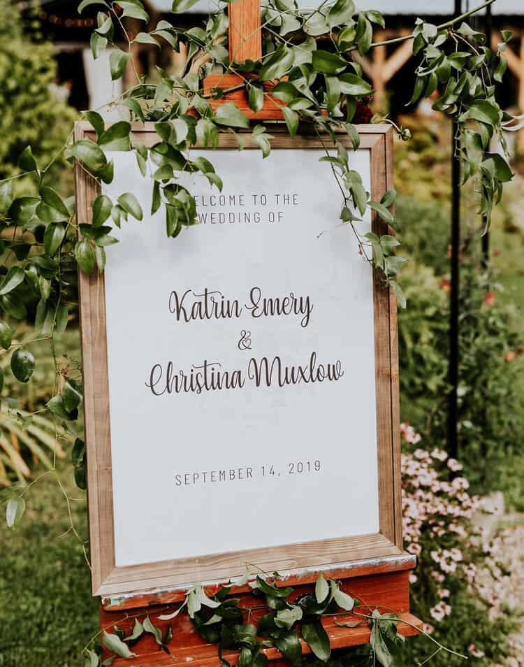 Katrin and Christina designed their own signs for their lesbian wedding photos.