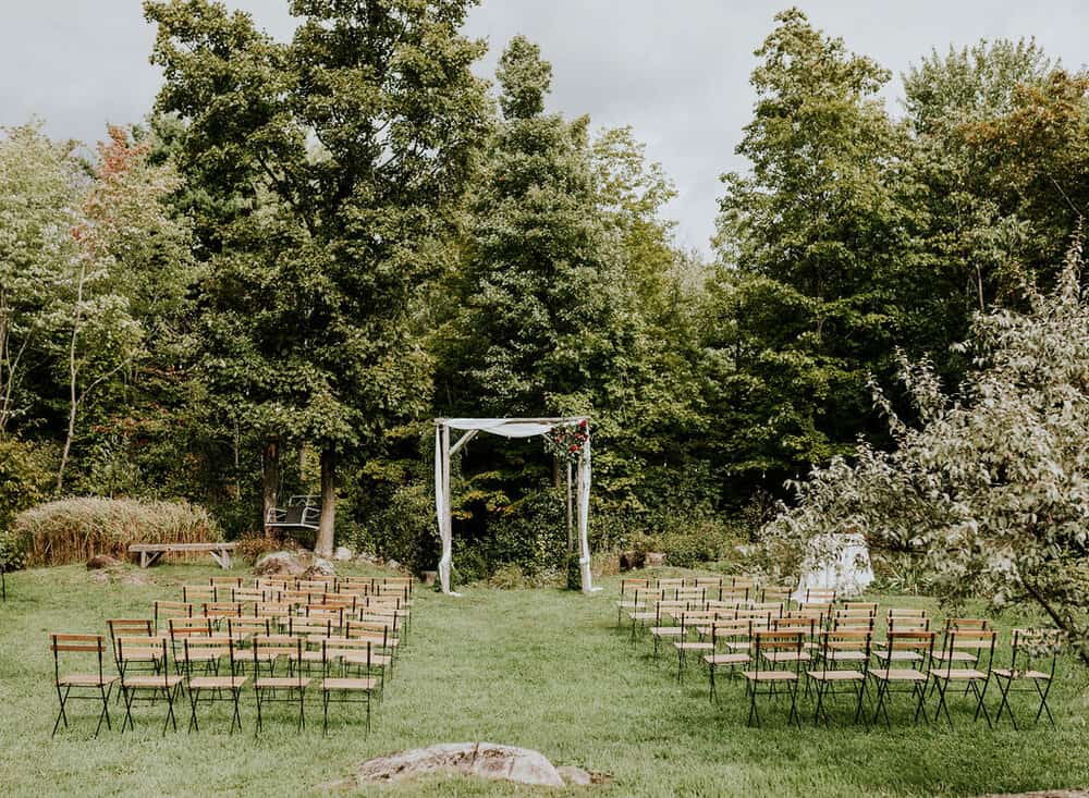 Rustic wedding arch at Christina + Katrin's lesbian wedding.