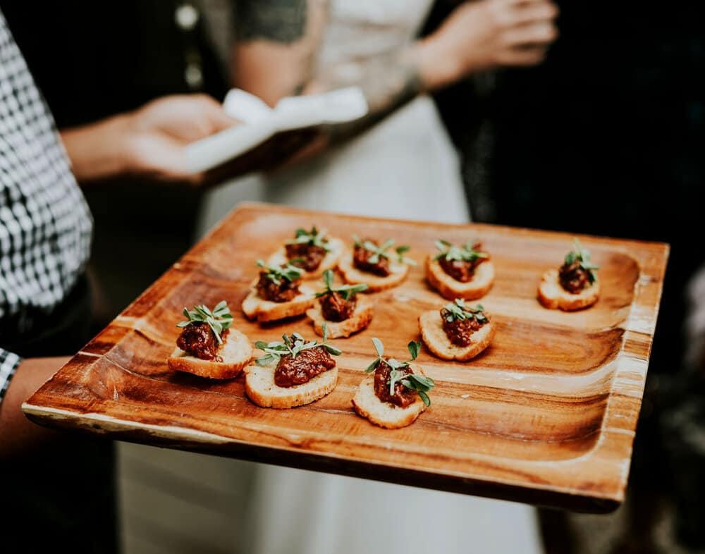 Christina + Katrin served vegan food at their lesbian wedding