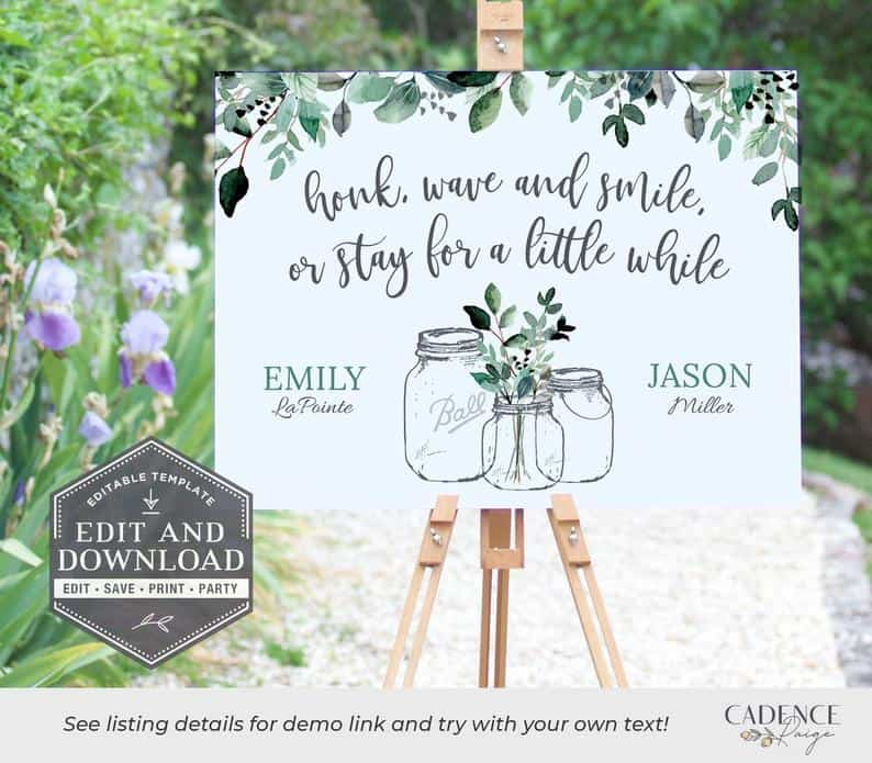 Greenery Drive-By Bridal Shower Sign