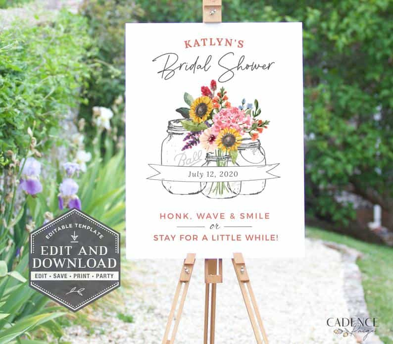 Wildflowers Drive-By Bridal Shower Sign
