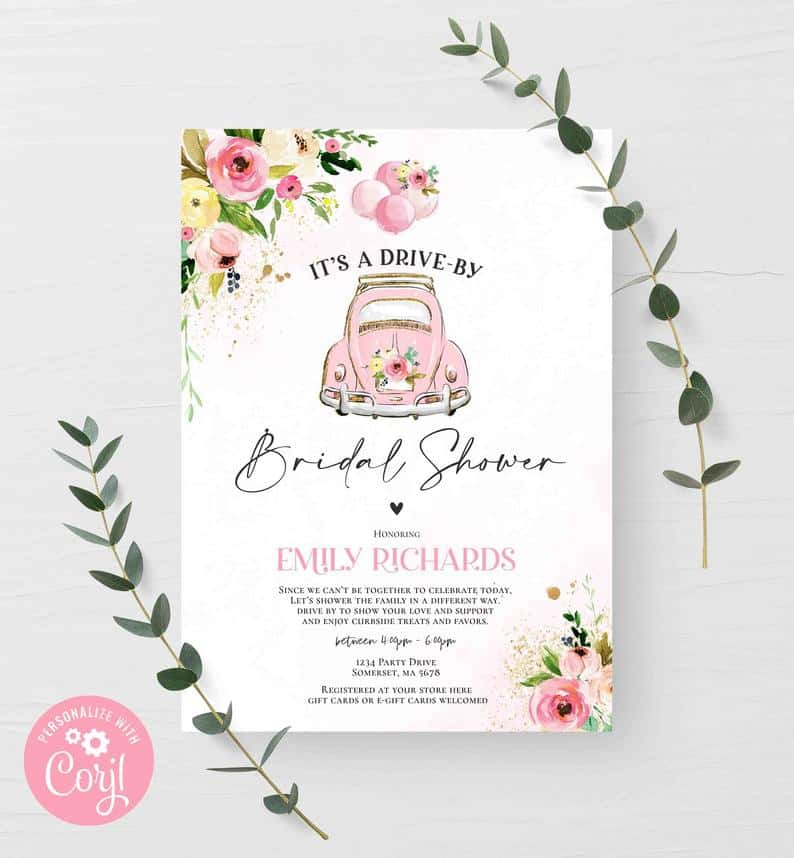 Drive-By bridal shower Invitation