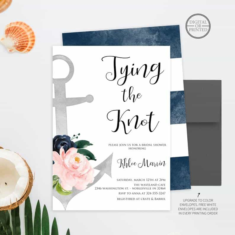 Nautical Invitations for a virtual bridal shower