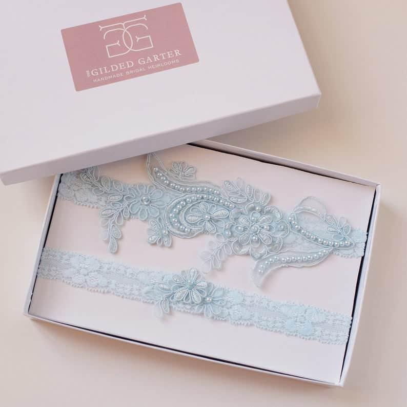 Wedding garter blue embroidered lace image 0