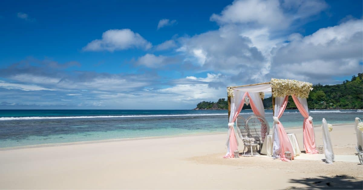 A beautiful bamboo arch for a wedding on a beach