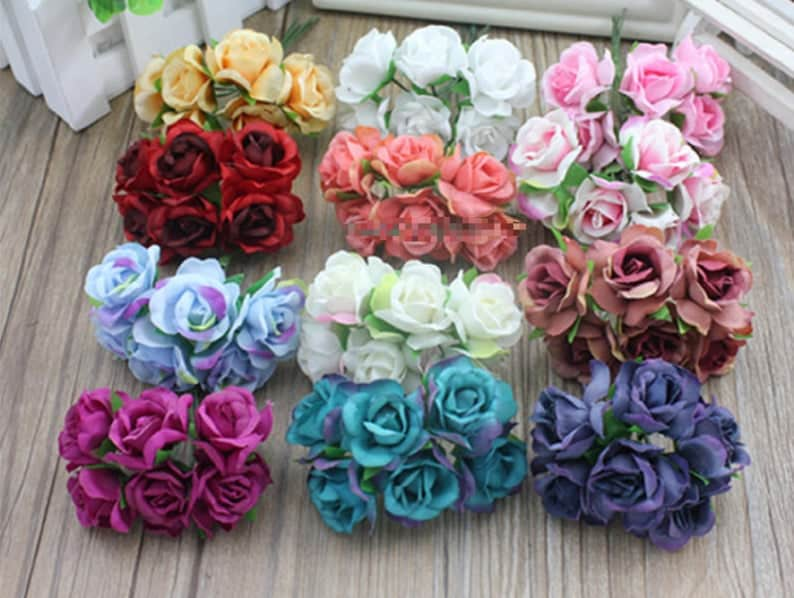 30 Pcs x 2.5cm Mini Artificial Flowers Silk Rose with Stem image 0