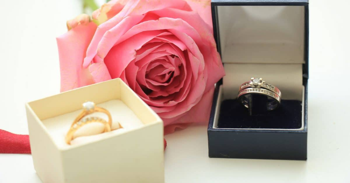 lesbian wedding bands with meaning sitting in ring boxes against a rose background