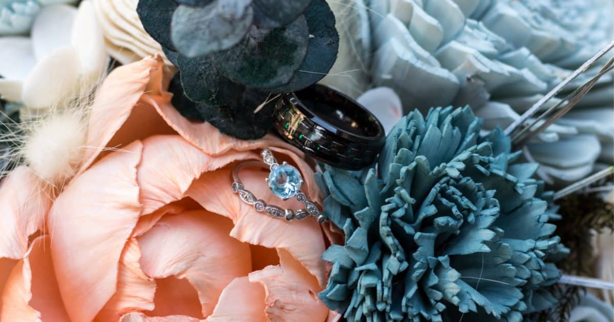 a selection of unique wedding bands with meaning