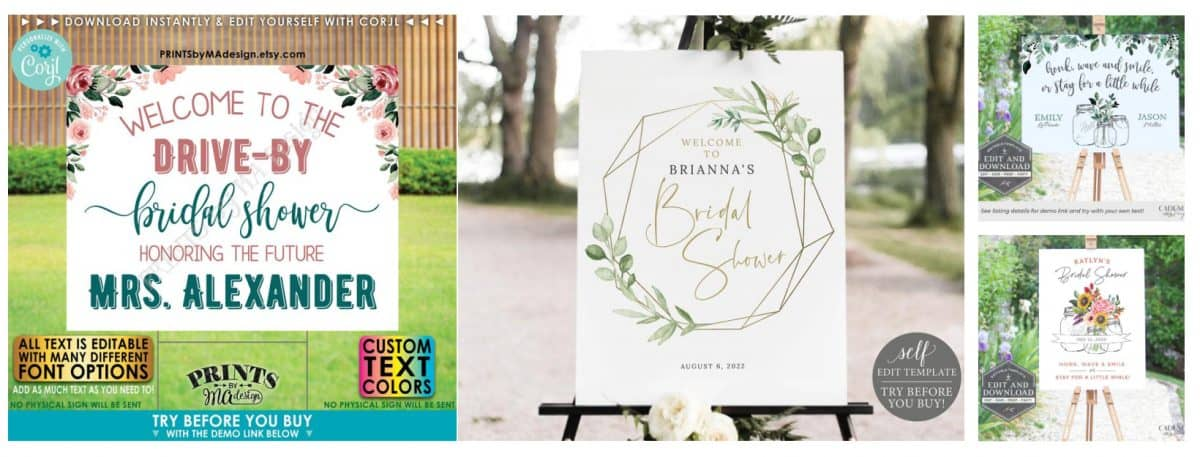 A selection of drive-by bridal shower signs from Etsy.