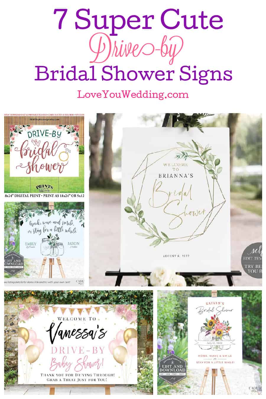 Plan the socially distanced day of your dreams with these beautiful and unique drive-by bridal shower signs! Check them out!