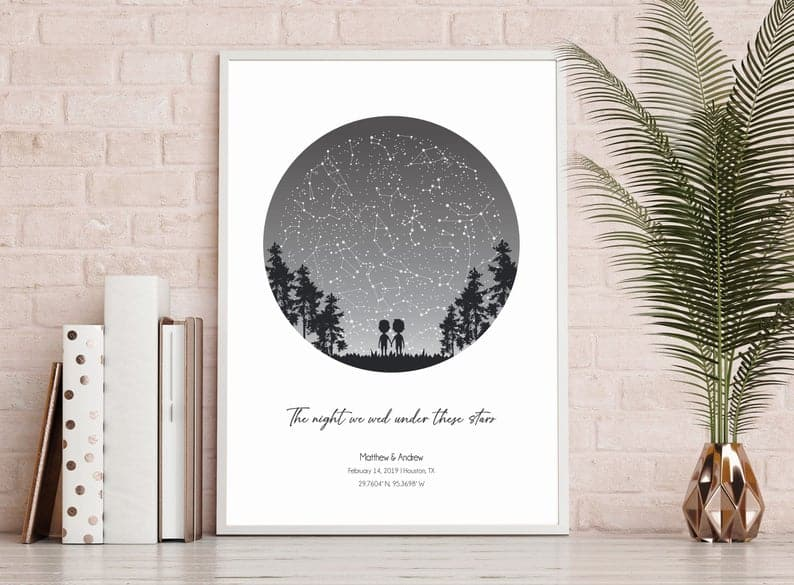 star chart makes great last minute wedding gift idea