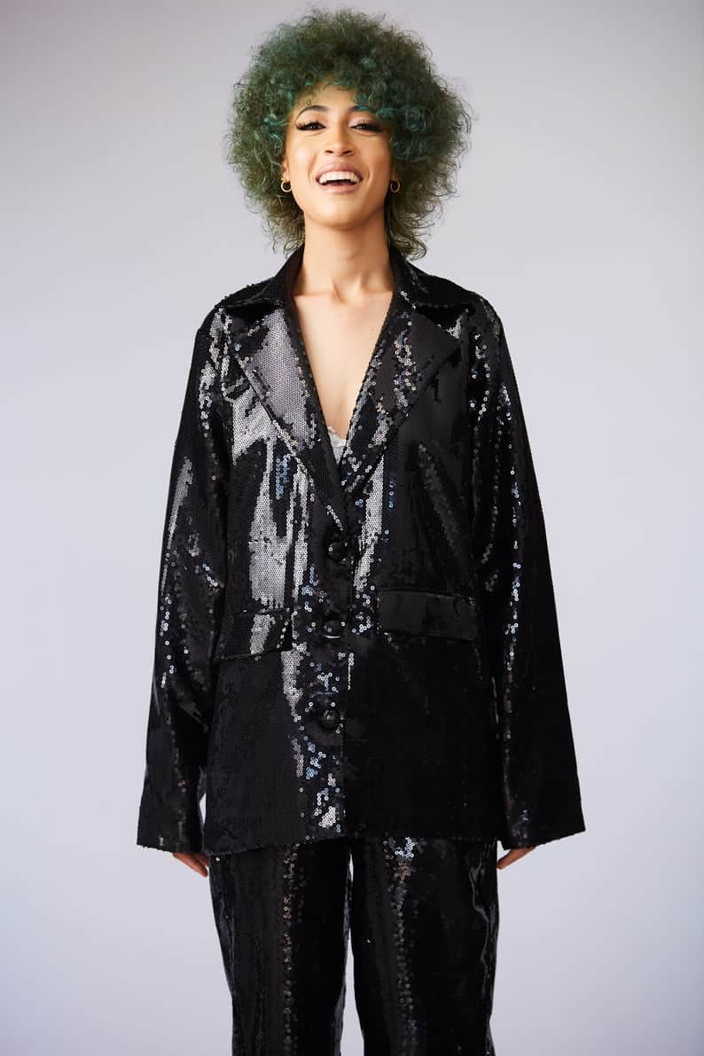 lesbian wedding guest attire- Black Sequin Blazer with Shoulder Pads and High Waist Trouser Suit