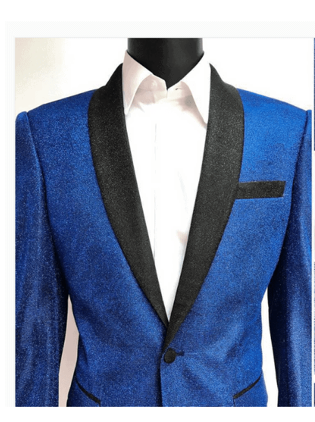 The navy blue echo jacket makes for beautiful lesbian wedding guest attire