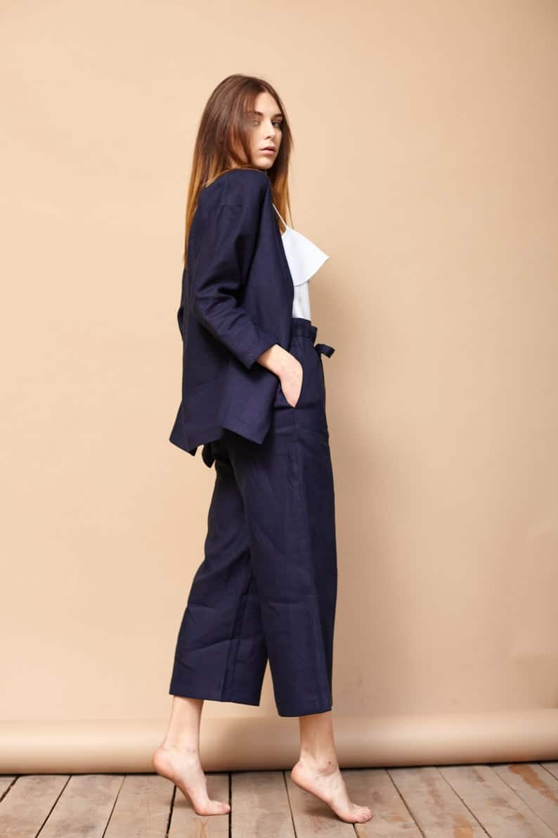 Navy blue comfy linen suit, perfect lesbian wedding guest attire