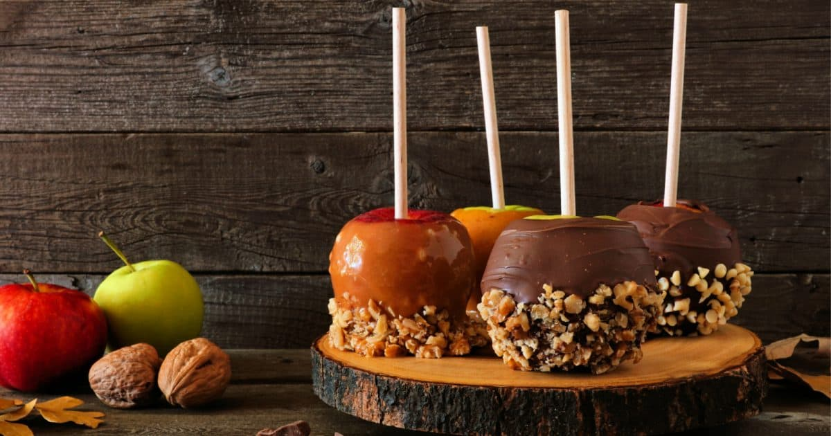 Four caramel apples sit on a wooden block. Caramel apples make beautiful rainbow-free same-sex wedding decor.