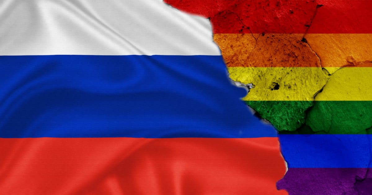 Russian and LGBTQ flag, as Russia bans same-sex marriage