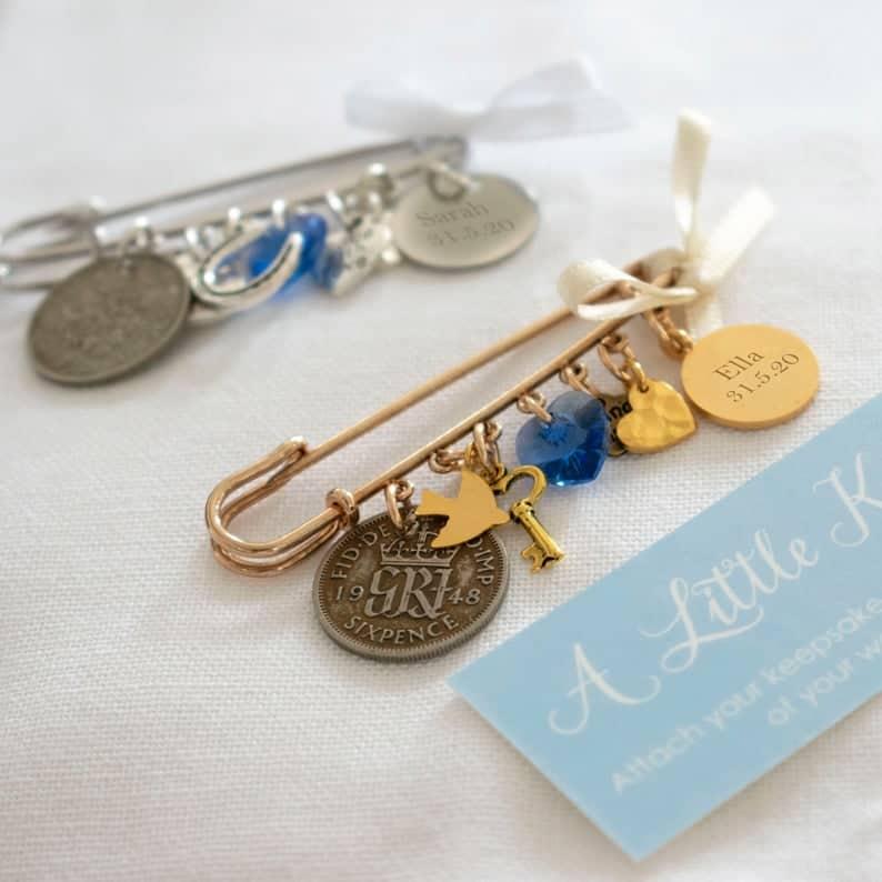 Bridal Pin, Something Old, New, Borrowed, Something Blue Wedding Pin, Silver or Gold Personalised Pin, Bridal Gift