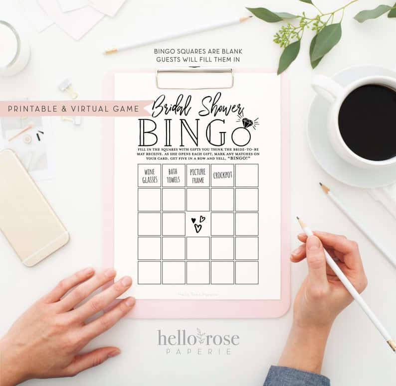 Bridal Shower Bingo . Virtual  Printable Shower Gifts Game . | Etsy