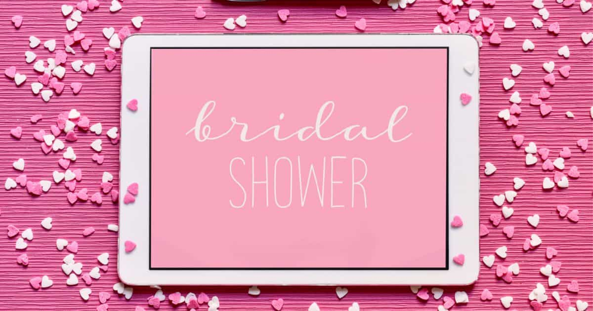 virtual bridal shower on a pink background