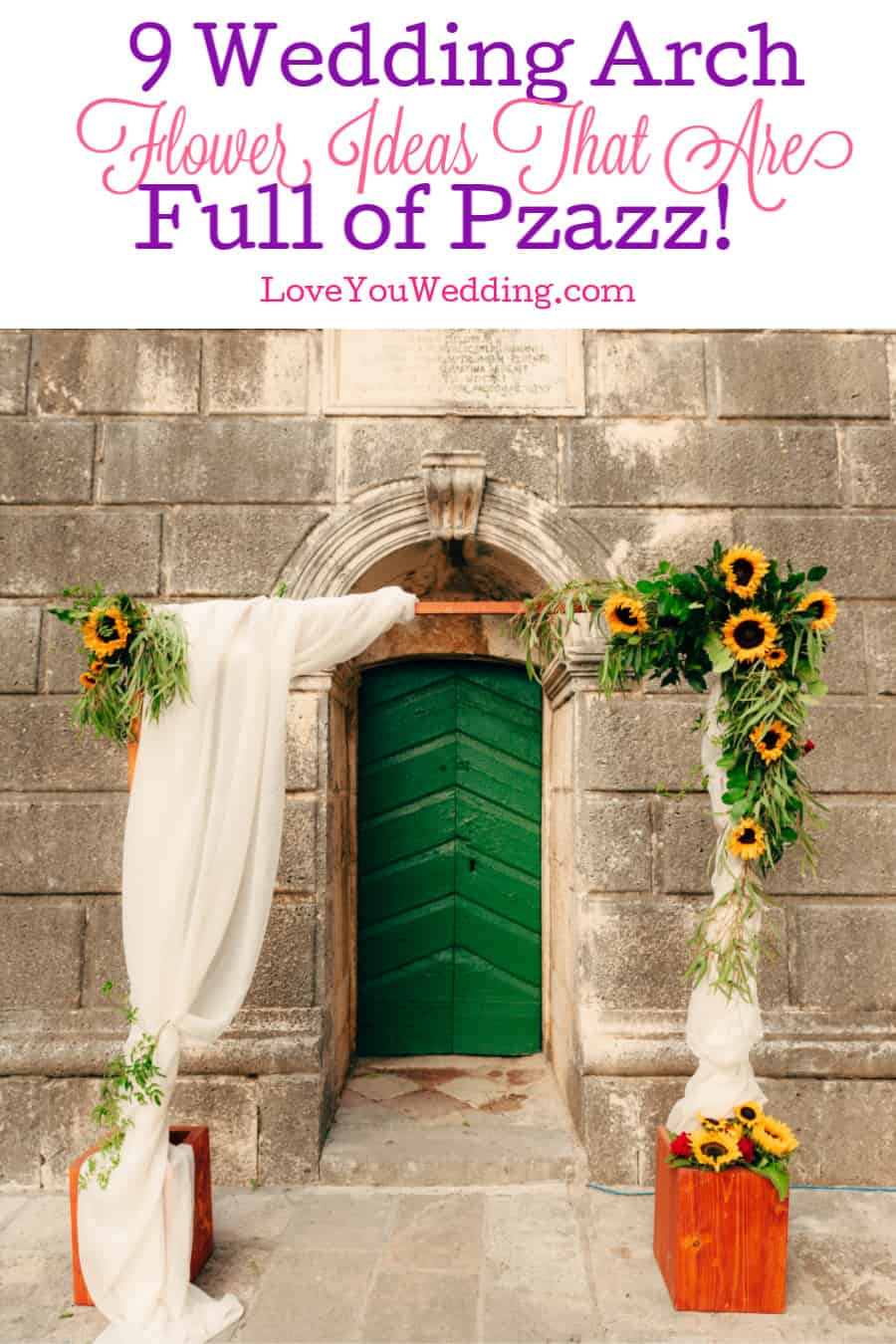These beautiful wedding arch flower ideas give a plain rented arch a whole lot of pzazz. Check them out and get ready to be inspired!