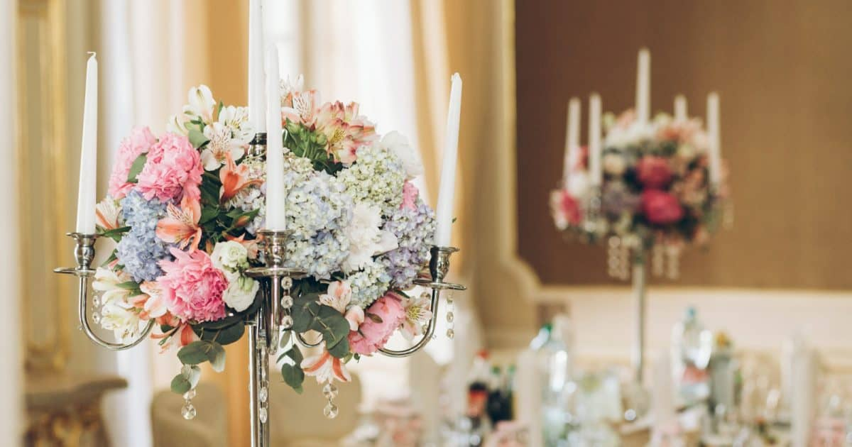 Candelabras for Weddings styled with flowers