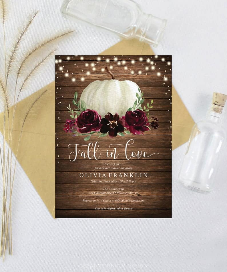 Fall in Love rustic invitations for the lesbian bachelorette and bridal shower party