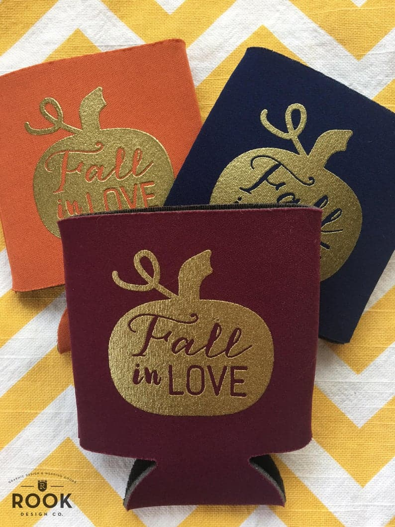 Fall in love can coolers party favors