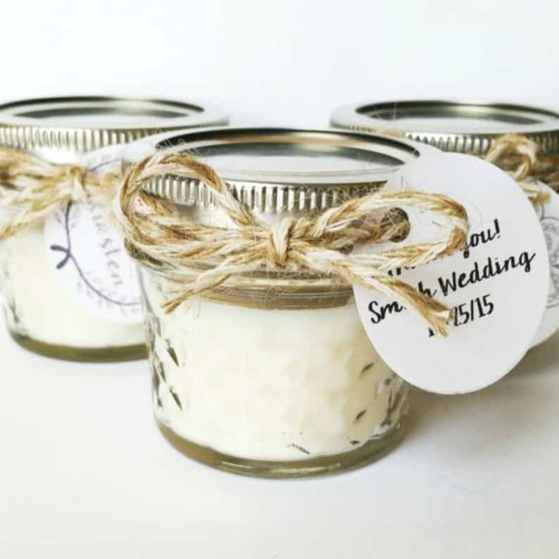 Fall candle favors for the lesbian bachelorette and bridal shower party