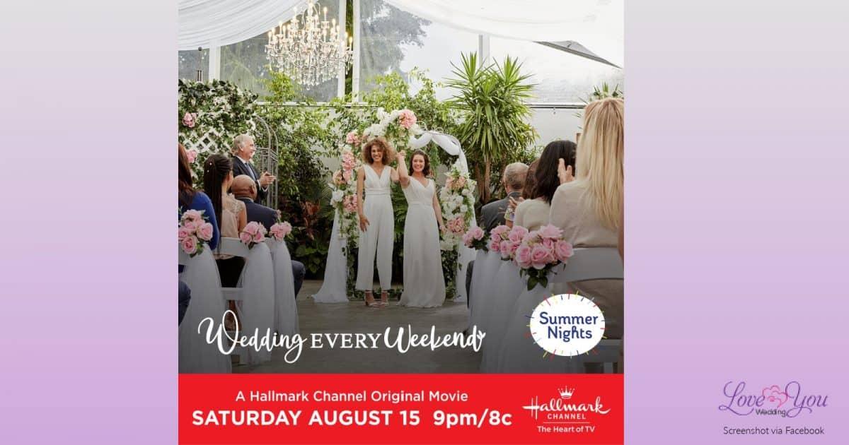 Hallmark movie ad portraying a same-sex wedding