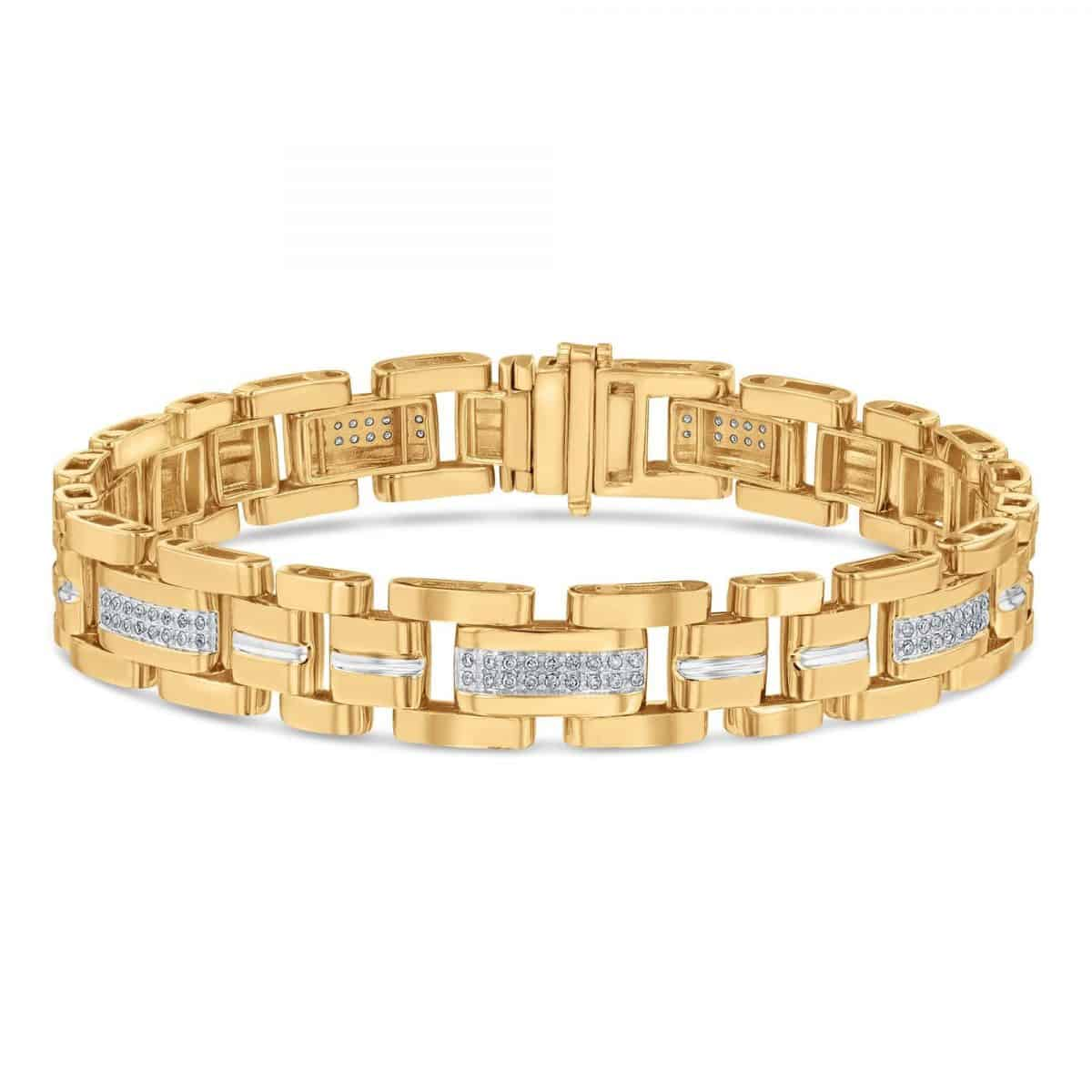 This Yellow Gold Diamond Link bracelet makes perfect his and his bracelets to give as a ring alternative