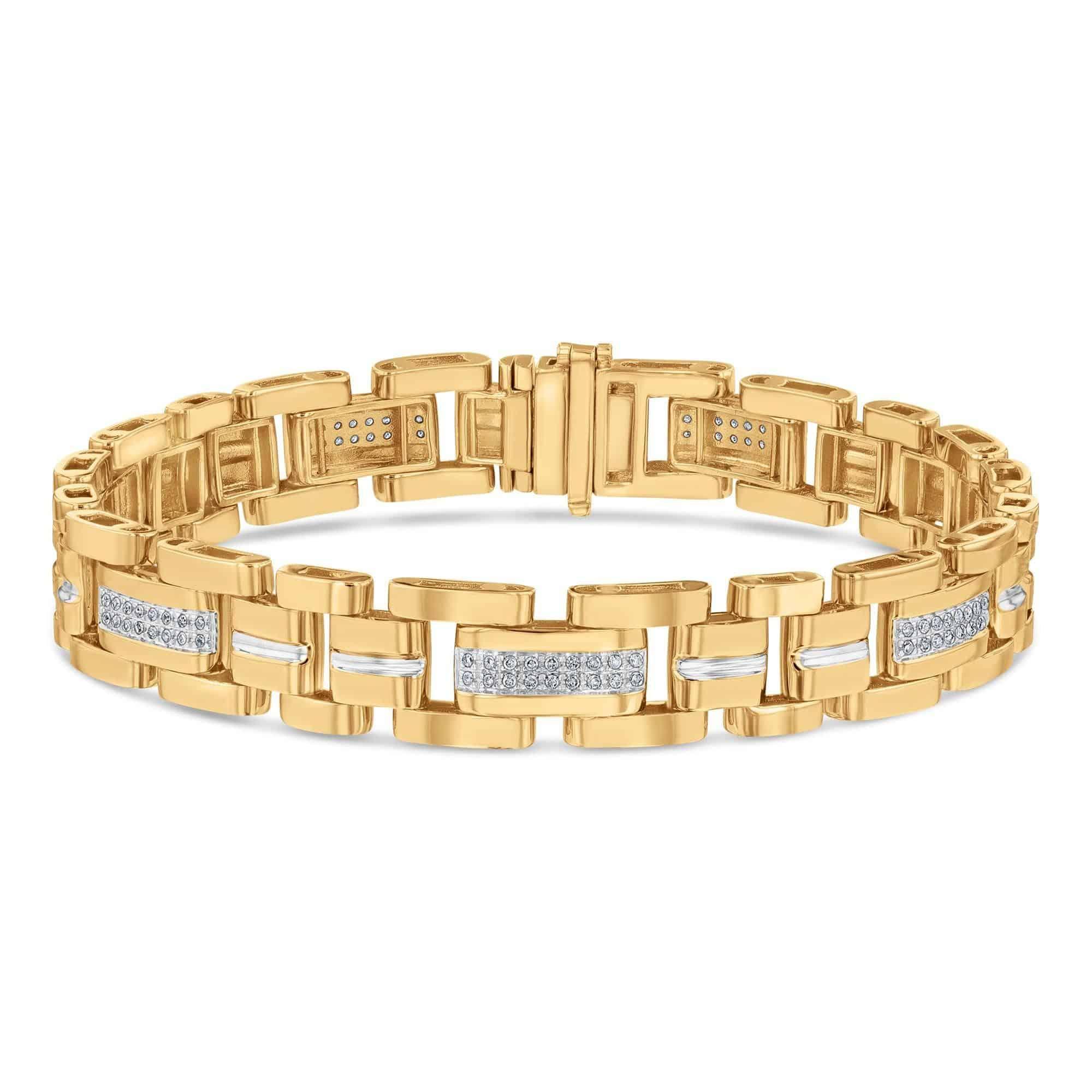 Men's Yellow Gold Diamond Link Bracelet 1/2ctw