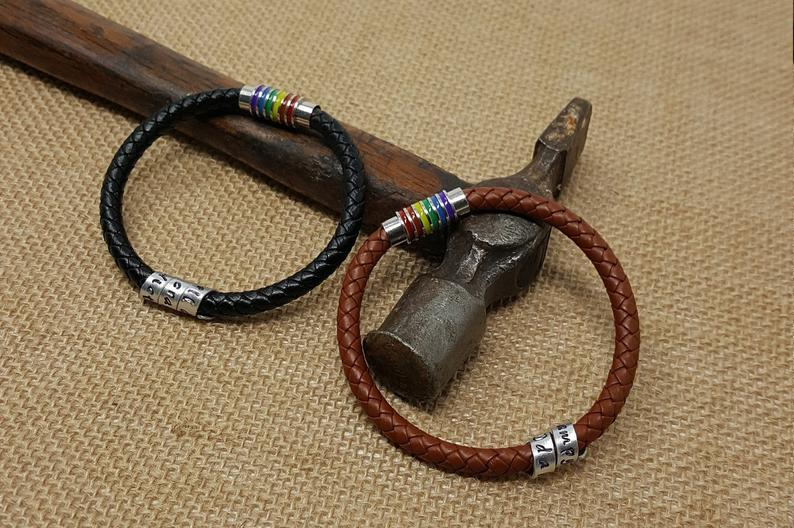 LGBT Personalised Hidden Message Scroll Braided Leather Bracelet Gift