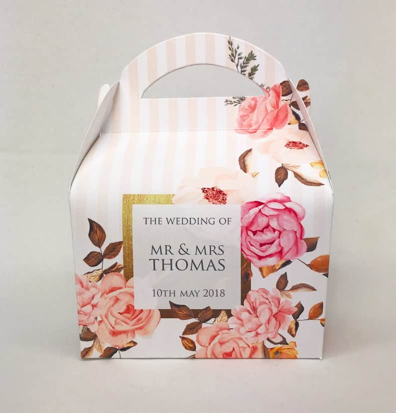 Personalized Rose And Gold Floral Box drive-by bridal shower favors