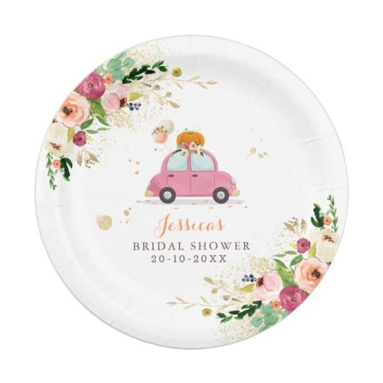 Drive-By Bridal Shower Plates drive-by bridal shower favors
