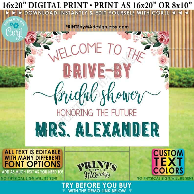 Editable Drive-By Event Sign