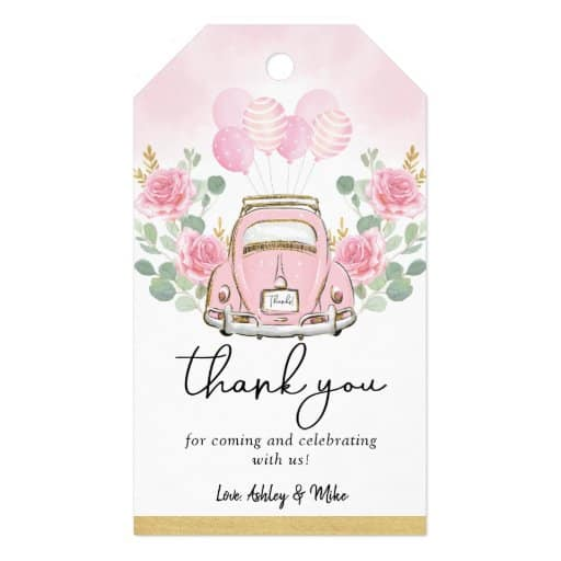 Pink Floral Gift Tags drive-by bridal shower favors