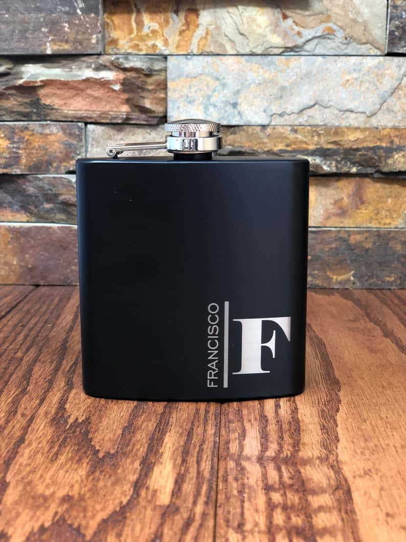 father of the bride gifts black flask set