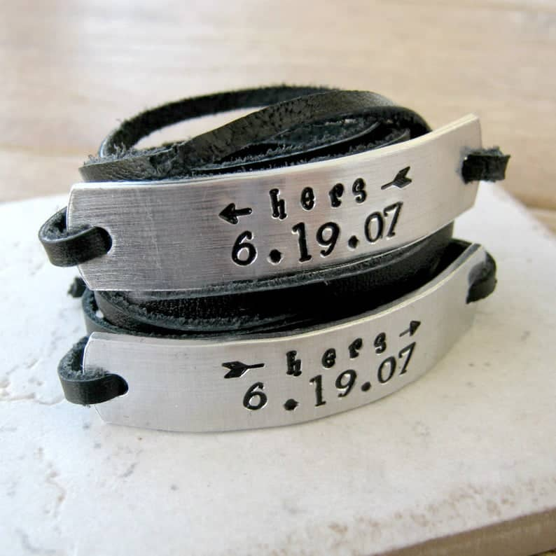 Hers and Hers Bracelets With Engraved Anniversary Date